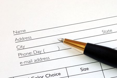 Fill in the name and address in an order form Stock Photo