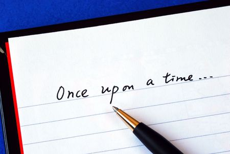 begin: Begin writing the story with the phrase 'Once upon a time' isolated on blue