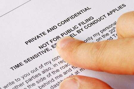 Pointing to the privacy and confidential issues Stock Photo