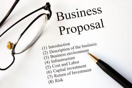 Business administration: Centrarse en los temas principales de una propuesta de negocio  Foto de archivo