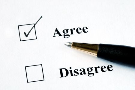disapprove: Select the Agree option with a pen