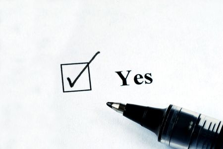 disapprove: Select the Yes option with a pen