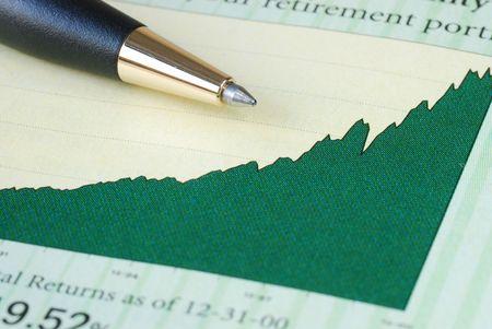 makelaardij: Analyseren van de terugkeer van de investeringen van de grafiek Stockfoto