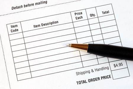 purchase order: Fill in the purchase items in an order form