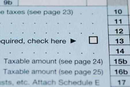 Close up view of the check box