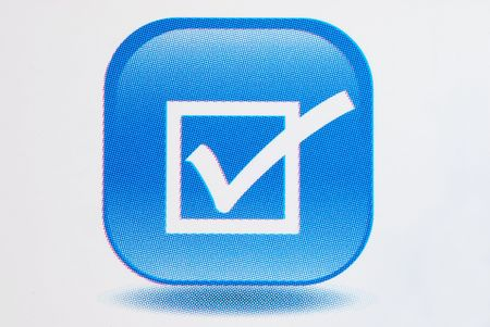 A big tick on the checkbox in 3D style Stock Photo - 7244444