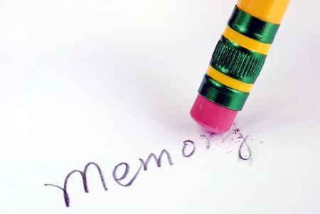 losing memory: Losing memory like dementia or forgetting bad memories Stock Photo