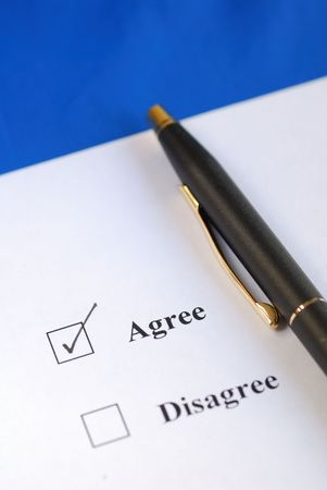 Select the Agree option with a pen