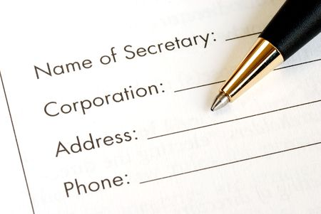 fill in: Fill in the information of a corporation Stock Photo