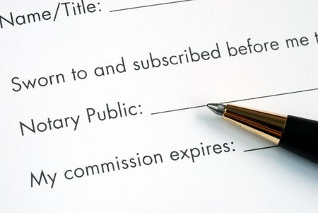The paper is notarized by the Notary Public Stock Photo
