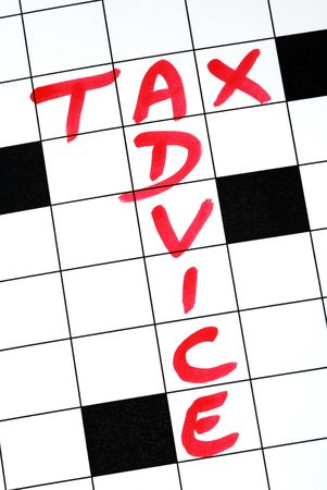 Write the words Tax Advice in the crossword puzzle Stock Photo - 7277120