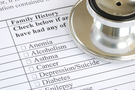 Fill out the family history section in the medical questionnaire Stock Photo
