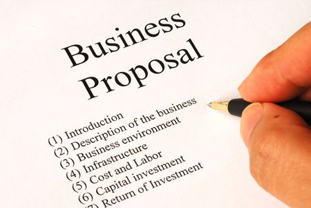 Working on the main topics of a business proposal Stock Photo