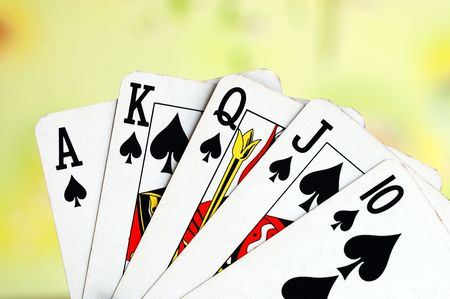 Royal flush from the poker cards concepts of winning photo