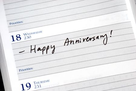 Mark the anniversary in the day planner Stock Photo