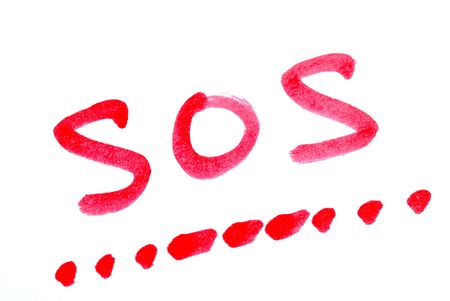Write SOS with its morse code concepts of help Stock Photo