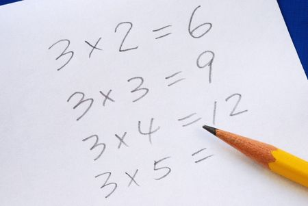 Practice the multiplication table with a pencil photo