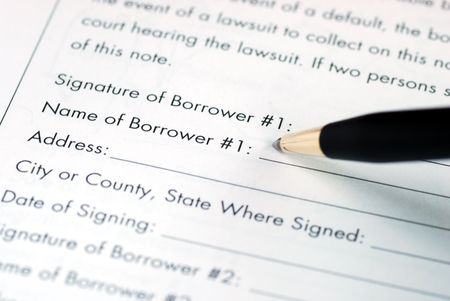 Sign and fill in the name for the borrower Stock Photo - 7453502