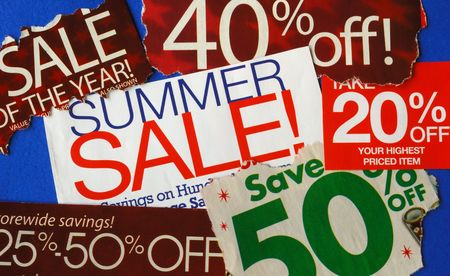 sales person: Various summer sale signs concepts of deep discount Stock Photo