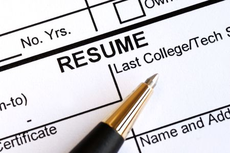 resourse: Close up view of the resume section and a pen Stock Photo