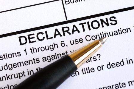 dagvaarding: Close-up van de declaratie sectie van een document  Stockfoto
