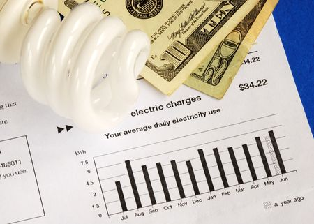 Save money by using energy savings light bulbs concepts of conservation photo