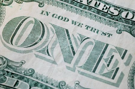 minted: Close up view of the phrase In God We Trust Stock Photo
