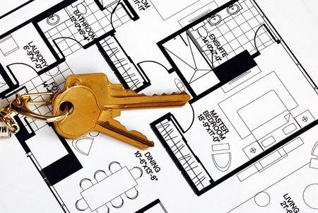 floorplan: Keys on a floorplan concepts of real estate ownership