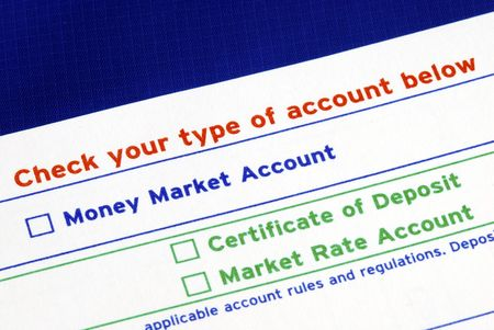deposit slip: Select your bank account in the deposit slip isolated on blue Stock Photo