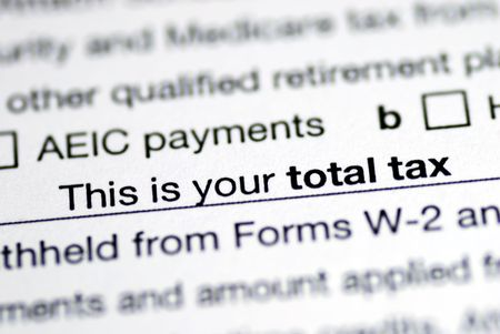 Focus on the total tax in the income tax return photo
