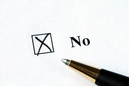 Select the No option with a pen