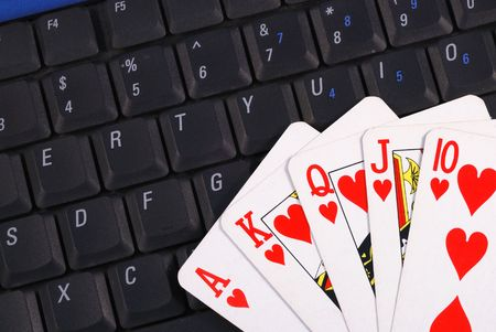 Play cards on a keyboard concepts of online gambling