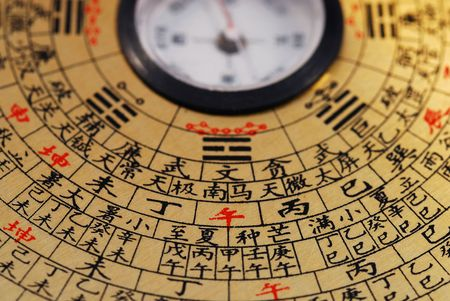 """Chinese Feng Shui compass focused on the Chinese word """"afternoon"""" Stock Photo"""