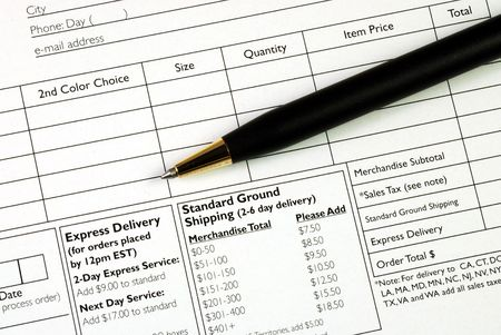 purchase order: Fill in the order form concepts of making a purchase