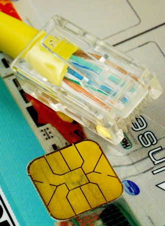 Network cable on a chip card concepts of online shopping photo