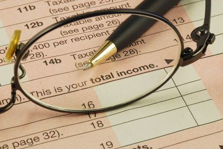 Focus on the total income in the Income Tax return Stock Photo
