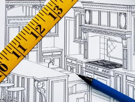 Het plannen van een renovatie in de keuken met de plattegrond