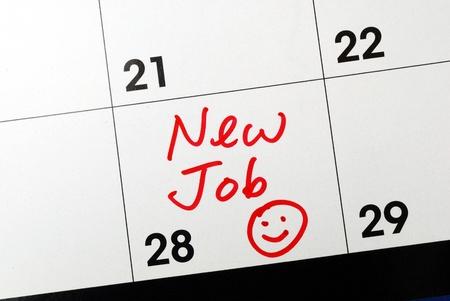 Marquer le calendrier pour aller vers un nouvel emploi Banque d'images