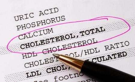 heart disease: Centrarse en el colesterol en un concepto de informe de análisis de sangre de mejor salud