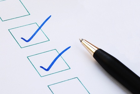 Put the check marktick in the boxes concepts of approval and correctness Stock Photo