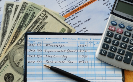 Write some checks to make payments for household expenses  Stock Photo