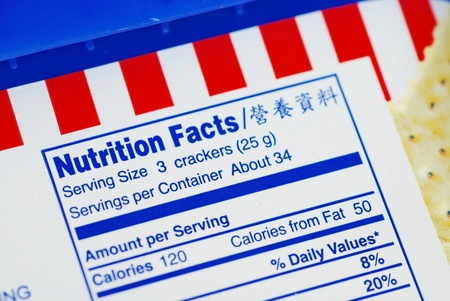 Nutrient Facts of a box of cookies concepts of health diet
