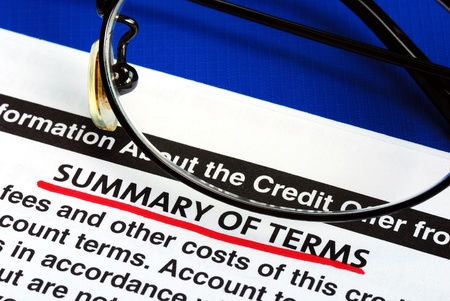 Summary of terms in a credit card offer photo