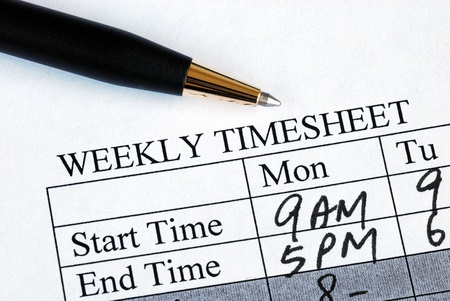 Enter the weekly time sheet concepts of work hours reporting Stock Photo - 10963518