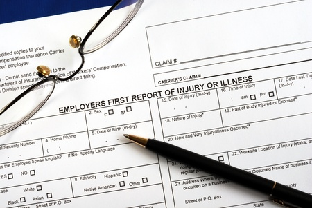 Fill in the workmen compensation injury claim form Stock Photo