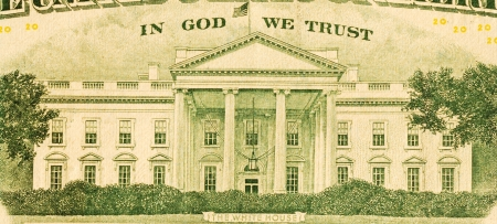 minted: In God We Trust and White House from the dollar bill