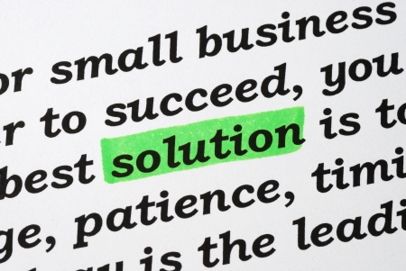 The word Solution concepts of solving problems Stock Photo - 16328272