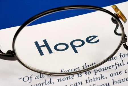 Focus on the word Hope concepts of expectation and future Stock Photo - 16462712