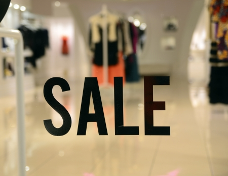 On Sale sign at the store front concept of discount shopping Stock Photo - 16857279
