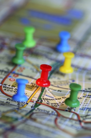 Color pins on a map concept of marketing strategy Stock Photo - 17264781